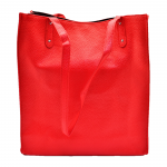 181302 - RED LEATHER SHOPPING BAG