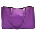 32642- PURPLE LEATHER SHOPPING BAG