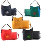 9031-5 COLORS - 5 PIECE PU 2 PC LEATHER HANDBAG  W/BLACK SHOULDER BAG (5 COLORS)