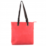 9033 - CORAL  LEATHER SHOPPING BAG