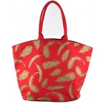 9203- RED FEATHER CANVAS TOTE BAG