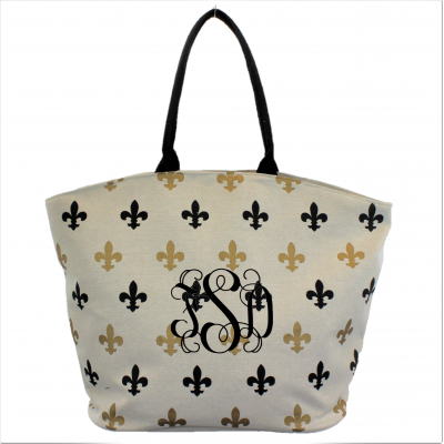 9221- BEIGE GOLD/BLACK  FLEUR DE LI CANVAS TOTE BAG