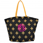 9299- BLACK AND GOLD FLEUR DE LI CANVAS TOTE BAG