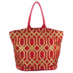 9200 - RED & GOLD TRELLIS DESIGN CANVAS TOTE BAG