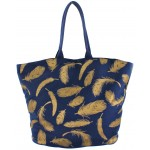 9203- NAVY FEATHER CANVAS TOTE BAG