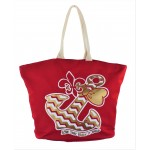9212- RED BOW ANCHOR CANVAS TOTE BAG