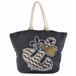 9212- GREY BOW ANCHOR CANVAS TOTE BAG