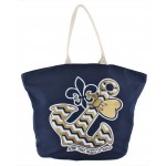 9212- NAVY BOW ANCHOR CANVAS TOTE BAG