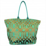 9200 - MINT & GOLD TRELLIS DESIGN CANVAS TOTE BAG