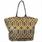 9200 - DARK GREY & GOLD TRELLIS DESIGN CANVAS TOTE BAG