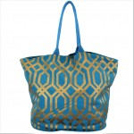 9200 -TURQUOISE & GOLD TRELLIS DESIGN CANVAS TOTE BAG