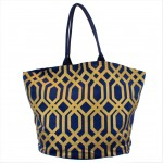 9200 - NAVY & GOLD TRELLIS DESIGN CANVAS TOTE BAG