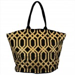 9200 - BLACK & GOLD TRELLIS DESIGN CANVAS TOTE BAG