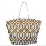 9200 - WHITE & GOLD TRELLIS DESIGN CANVAS TOTE BAG