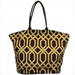 9200 - BROWN & GOLD TRELLIS DESIGN  CANVAS TOTE BAG