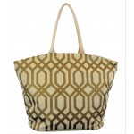 9200 -CREAM & GOLD TRELLIS DESIGN CANVAS TOTE BAG