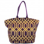 9200 -PURPLE & GOLD TRELLIS DESIGN CANVAS TOTE BAG