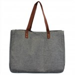 9220- GREY CANVAS TOTE BAG