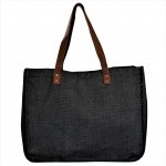 9220- BLACK CANVAS TOTE BAG