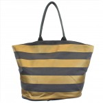 9205- GREY & GOLD STRIPES CANVAS TOTE BAG