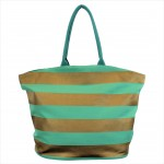 9205- MINT & GOLD STRIPES CANVAS TOTE BAG
