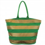 9205- GREEN & GOLD STRIPES CANVAS TOTE BAG