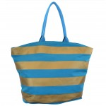 9205- TURQUOISE & GOLD STRIPES CANVAS TOTE BAG