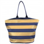 9205- NAVY & GOLD STRIPES CANVAS TOTE BAG