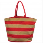 9205- RED & GOLD STRIPES CANVAS TOTE BAG