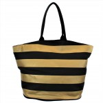 9205- BLACK & GOLD STRIPES CANVAS TOTE BAG