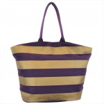 9205- PURPLE & GOLD STRIPES CANVAS TOTE BAG