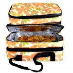 180395-FLOWER DESIGN DOUBLE INSULATED CASSEROLE CARRIER W/HANDLE