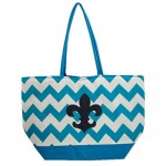 SW180593-AQUA/WHITE CHEVRON DESIGN INSULATED  BAG W/FDL