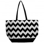 SW180594-BLACK/WHITE CHEVRON DESIGN INSULATED BAG