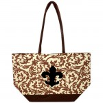 180600-BROWN FLOWER DESIGN INSULATED BAG W/FDL