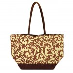 SW180601-BROWN/CREME FLOWER DESIGN INSULATED BAG