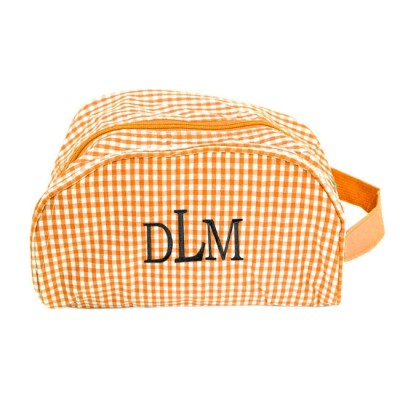 181020 - ORANGE/WHITE GINGHAM COSMETIC BAG