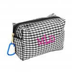 181022 - BLACK/WHITE GINGHAM COIN  POUCH OR COSMETIC/MAKEUP BAG