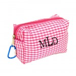 181024 - PINK/WHITE GINGHAM COIN  POUCH OR COSMETIC/MAKEUP BAG