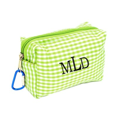 181026 - GREEN/WHITE GINGHAM COIN  POUCH OR COSMETIC/MAKEUP BAG