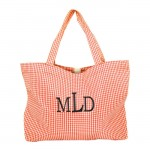 SW181030 - ORANGE/WHITE GINGHAM SHOPPING BAG