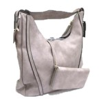 JQS30004-LIGHT GREY VEGAN LEATHER PURSE WITH WALLET