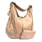 JQS30004-TAN VEGAN LEATHER PURSE WITH WALLET