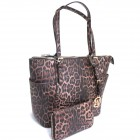 LE1009-BROWN LEOPARD VEGAN LEATHER PURSE WITH MATCHING WALLET