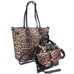 LF2071-BLACK LEOPARD VEGAN LEATHER PURSE- 3 PIECE SET