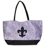 180480-PURPLE/BLACK CHEETAH DESIGN SHOPPING OR BEACH BAG & BLACK FDL