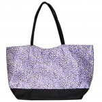 180480-PURPLE/BLACK CHEETAH DESIGN SHOPPING OR BEACH BAG