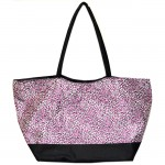 180481-HOT PINK/BLACK CHEETAH DESIGN SHOPPING OR BEACH BAG
