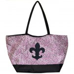 180481-HOT PINK/BLACK CHEETAH DESIGN SHOPPING OR BEACH BAG & BLACK FDL