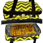 SW180603YL-BLACK/YELLOW CHEVRON DESIGN DOUBLE INSULATED CASSEROLE CARRIER W/HANDLE